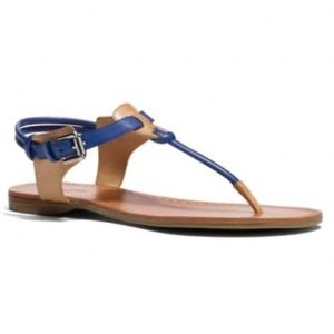 COACH Blue and Tan Clarkson Sandal 8.5